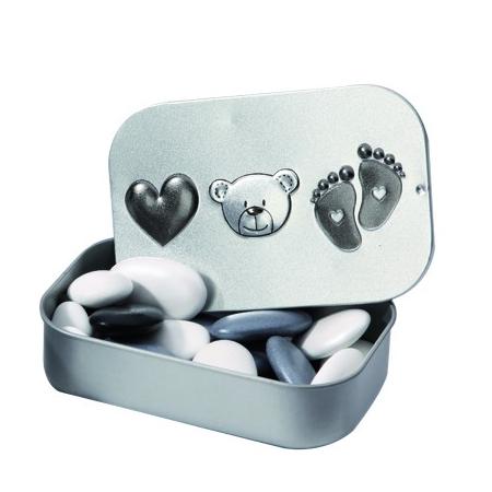Boîte métal ourson pied coeur