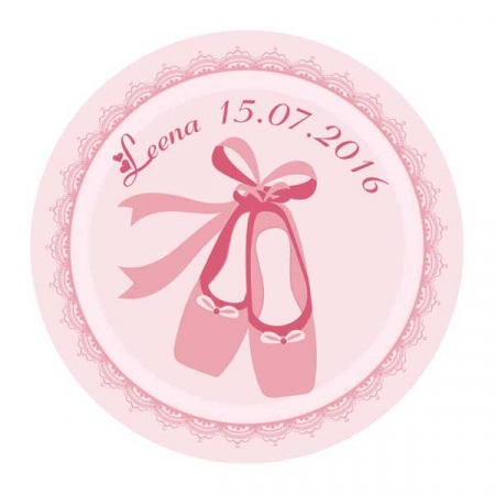 Stickers ballerine ronde rose