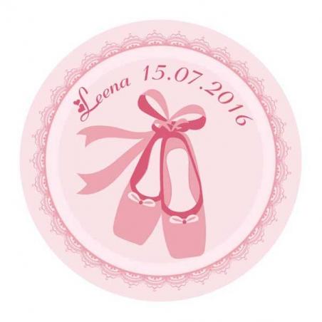 Stickers ballerine ronde rose