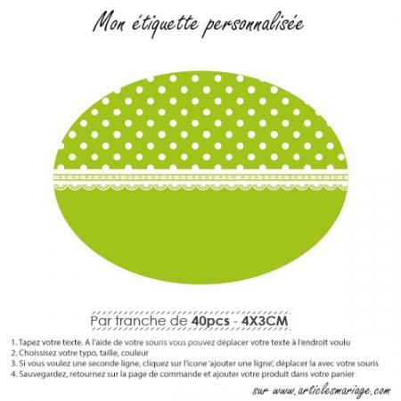 Etiquette vichy ovale couché verte