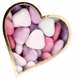 Dragée coeur assorti rose/blanc/mauve
