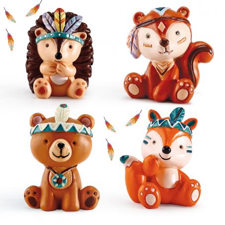 """Assortiment de 4 figurines """" Copains des Bois"""""""